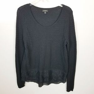 XL Lucky Brand Black Knit Sweater Lace Detail